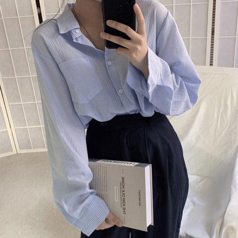 [Korean Style] Sacha Loose Fit Striped Shirts
