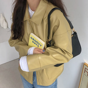 [Korean Style] Vag Cropped Faux Leather Jacket
