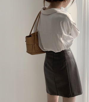 [Korean Style] Arian Blouse Leather Skirt 2-Piece Set