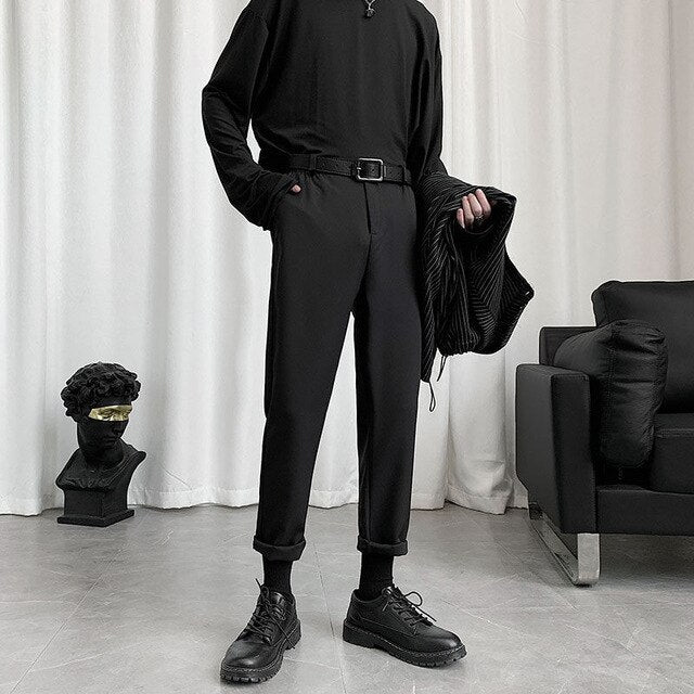 [Korean Style] Black Casual Straight Pants