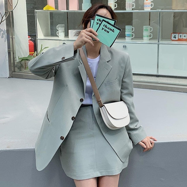 [Korean Style] Harlow Solid Color Matchy Blazer Skirt 2 pc Set