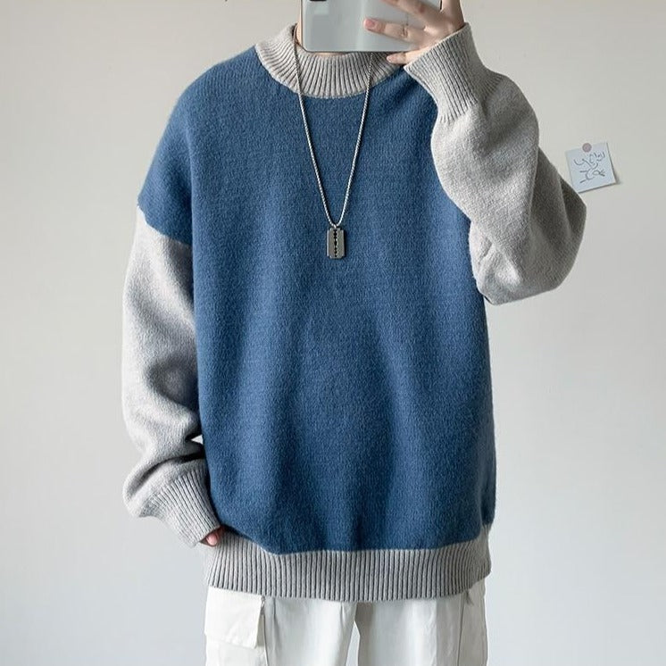 [Korean Style] 3 Color Two-Tone Knitted Cashmere Sweaters