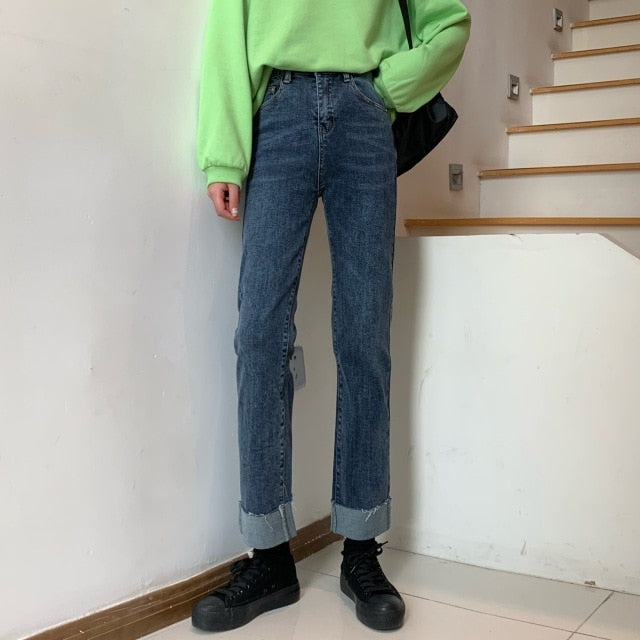 [Korean Style] Cratie High Waisted Straight Jeans