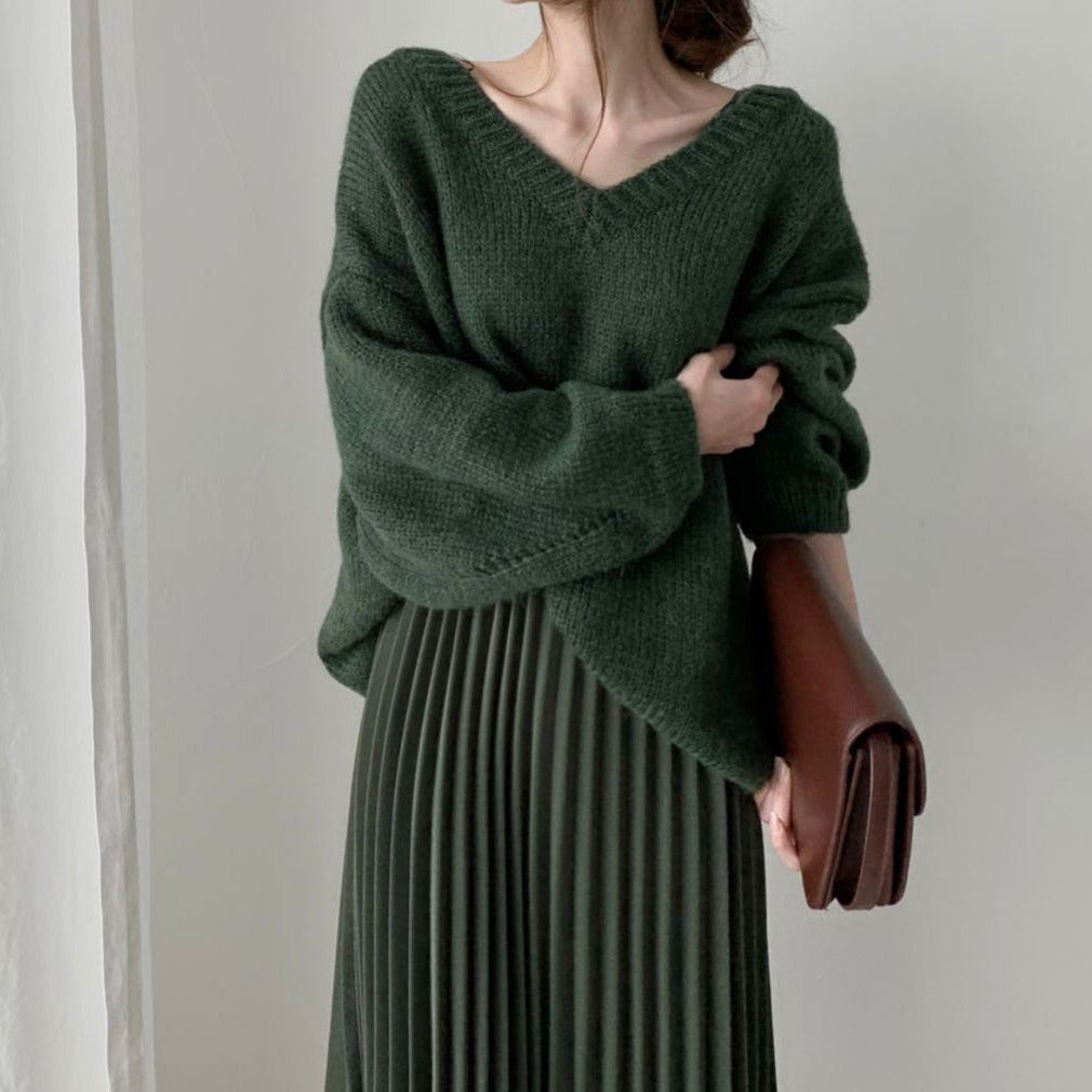 [Korean Style] Maritza Oversized V-neck Sweater w/ Pleated Skirt 2 Piece Set