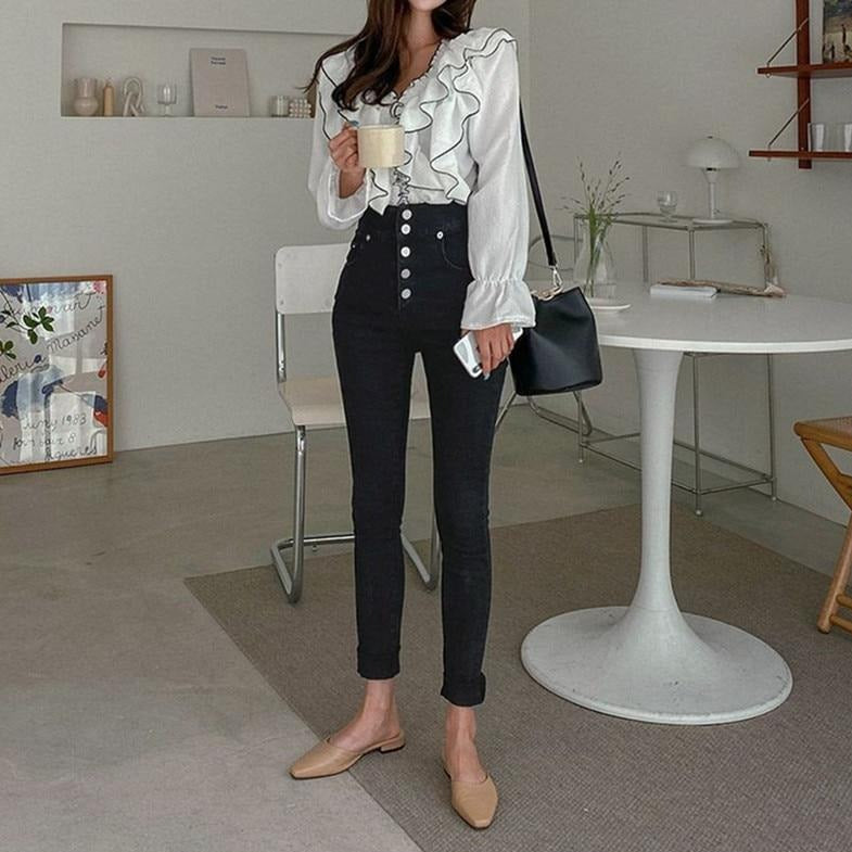 [Korean Style] Audre Button High Rise Skinny Jeans