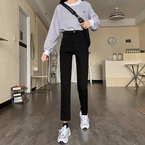 [Korean Style] Ley 4 Colors Hight Waist Straight Jeans