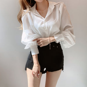 [Korean Style] Sanjo Puff Sleeve Blouse