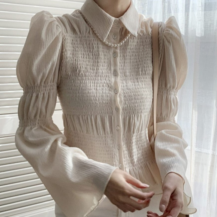 [Korean Style] Delaney Ruffle Blouse w/ Puffy Sleeves