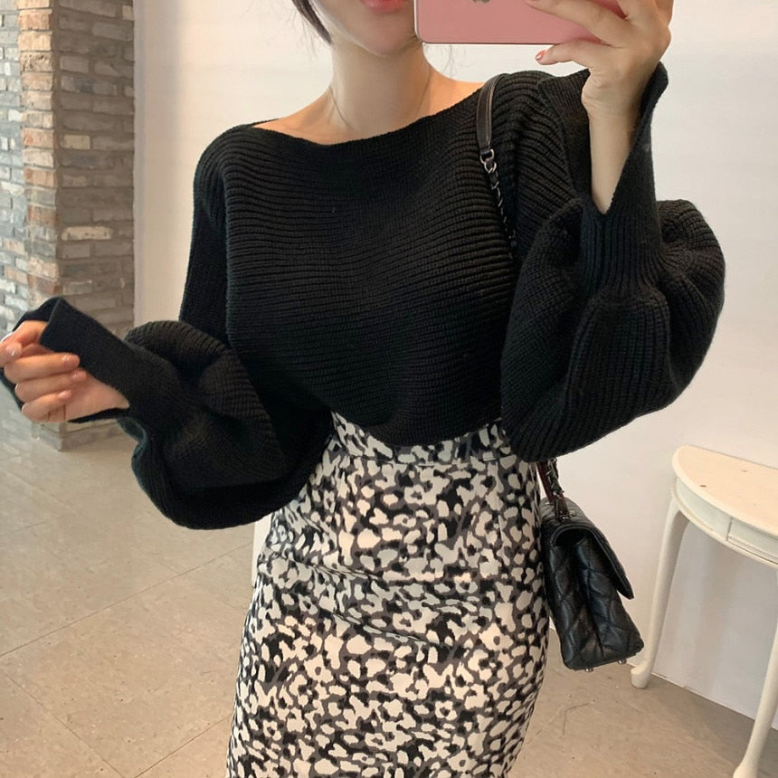 [Korean Style] Letitia Boat Collar Sweater w/ Slit Sleeves Pattern Pencil Skirt Set