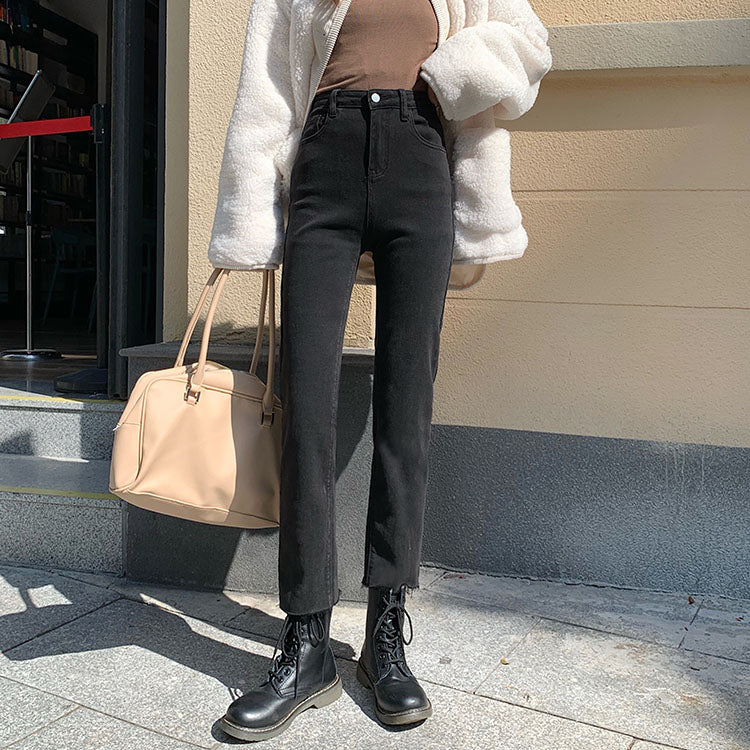 [Korean Style] Iola Hight Waisted Straight Slit Jeans with Buttons