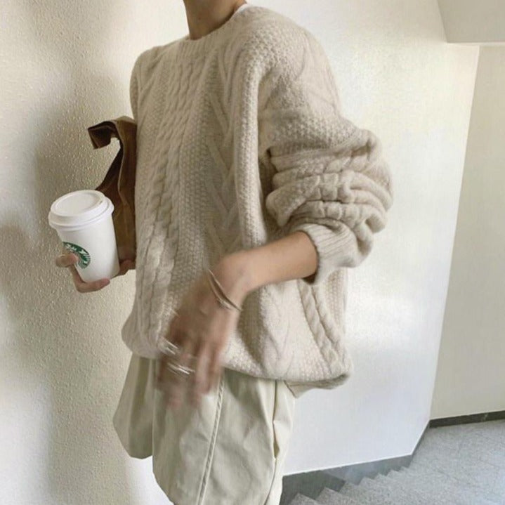 [Korean Style] Borrina Long Sleeve Thick Cable Knit Pullover Sweater