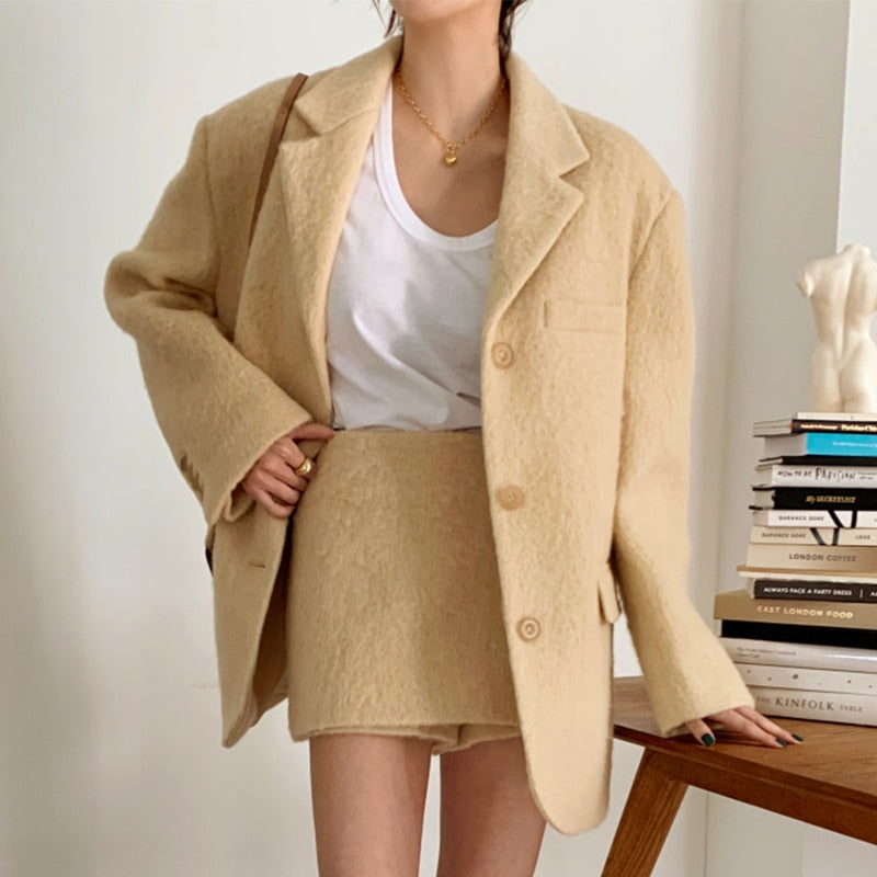 [Korean Style] York Fuzzy Blazer Skirt 2 pc Set