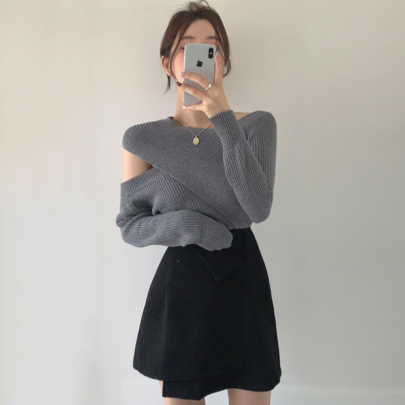 [Korean Style] Renna Cut-off Knit Wrap Top Skirt 2 pc Set