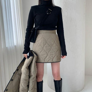 [Korean Style] Shein Quilted Collarless Jacket Skirt 2pc Set