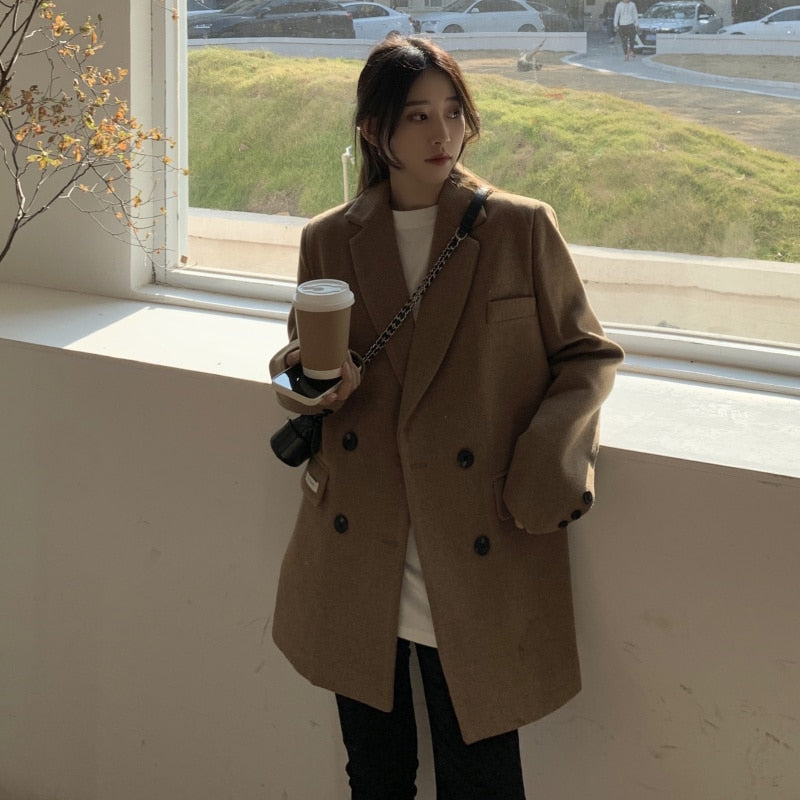 [Korean Style] Luc Vintage Style Double Breasted Midi Coat