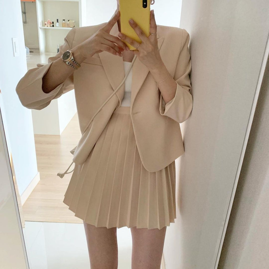 [Korean Style] Henny Cropped Blazer w/ Pleated Skirt 2 pc Set