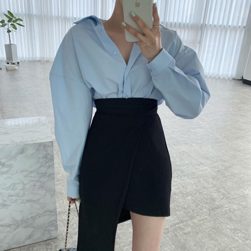 [Korean Style] Kellie Solid Color Shirt w/ Irregular Wrap Mini Skirt 2 pc Set