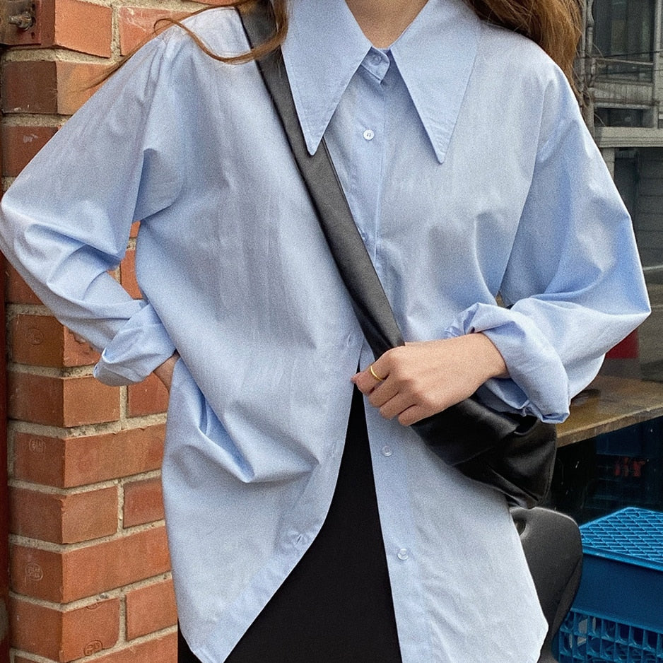 [Korean Style] Janet Solid Color Button down Loose Fit Shirt