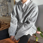 [Korean Style] Gray Solid V-neck Sweatshirts