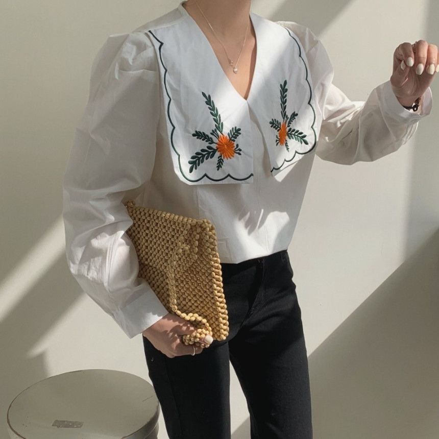 [Korean Style] Embroidery Sailor Collared Long Sleeve Blouse