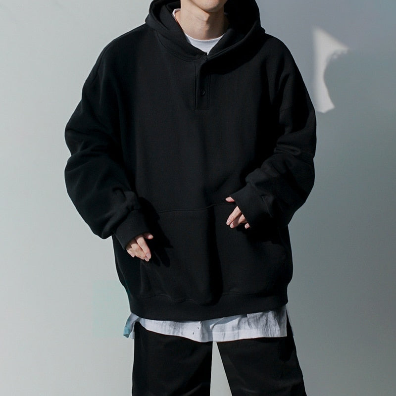 [Korean Style] Tory Oversized Black Hoodie