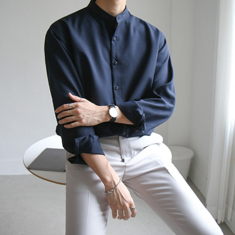 [Korean Style] 3 Colors Band Collar Shirts