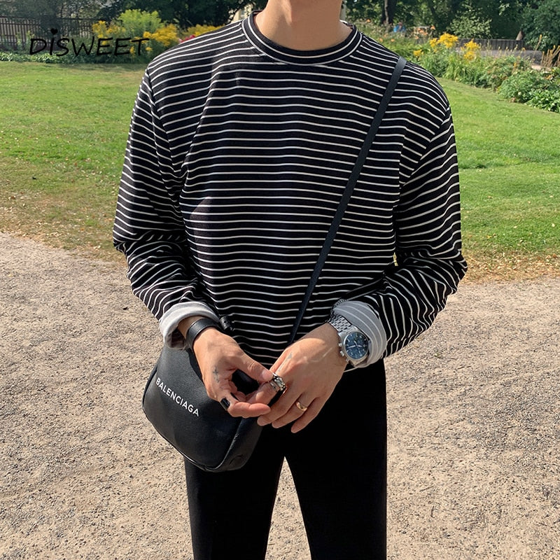 [Korean Style] 2 Colors Long Sleeve Striped T-shirts