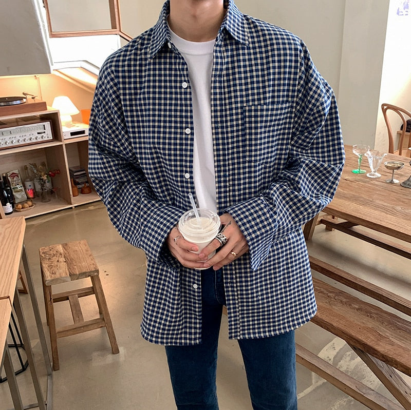 [Korean Style] Blue Oversized Plaid Shirts