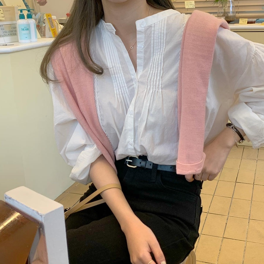 [Korean Style] Cloud Split-neck Lace Blouse
