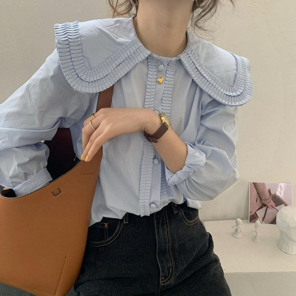 [Korean Style] Solid Color Peter Pan Collar Ruffle Blouse