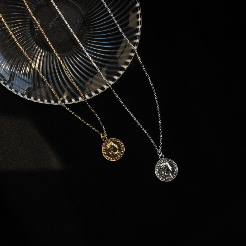 [Korean Style] Vintage Coin Necklace Gold & Silver