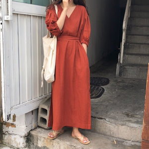 [Korean Style] High Waist V Neckline Maxi Mono Dress