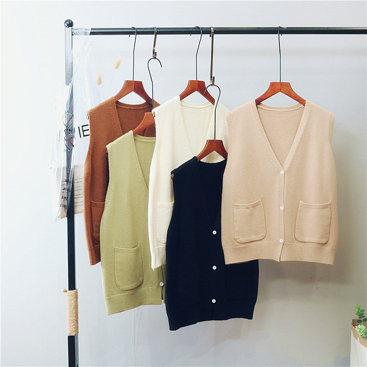 [Korean Style] Single Breasted kitted Sleeveless Cardigan