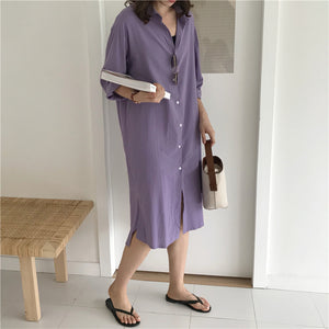 [Korean Style] V Turndown Button Split Long Elegant Shirt Dress