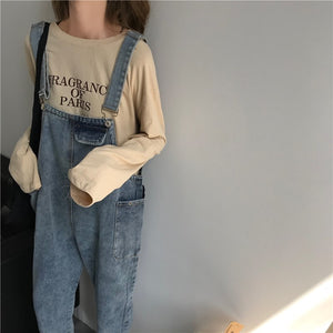 [Korean Style] Basic Denim Jumpsuit with Pockets