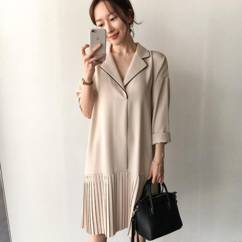[Korean Style] Liz Turn-over Collar Pleated Mini Dress