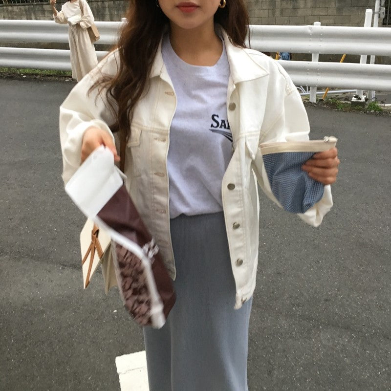 [Korean Style] Heather Creamy Cropped Denim Jacket