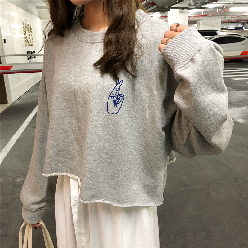 [Korean Style] Cropped Letter Printed Winter SweatShirts