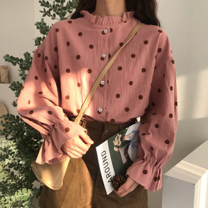 [Korean Style] Banbi Polka Dot Blouser with Ruffled Sleeves