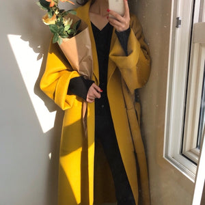 [Korean Style] Mustard Cashmere Blended Belted Long Overcoat