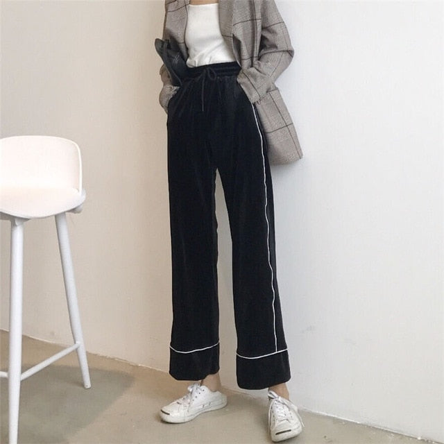 [Korean Style] Velvet Drawstring High Waist Wide Leg Pants