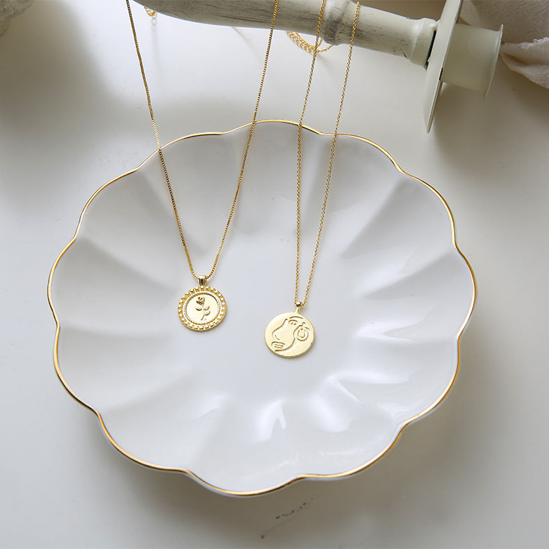 [Korean Style] Choor Carved Coin Gold Necklace