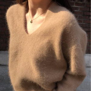 [Korean Style] Fluffy Bunny V-neck Sweater