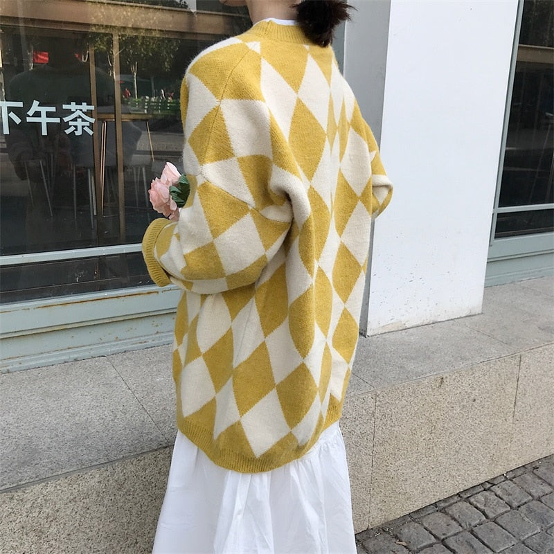 [Korean Style] Hiez Oversized Plaid Knit Sweater