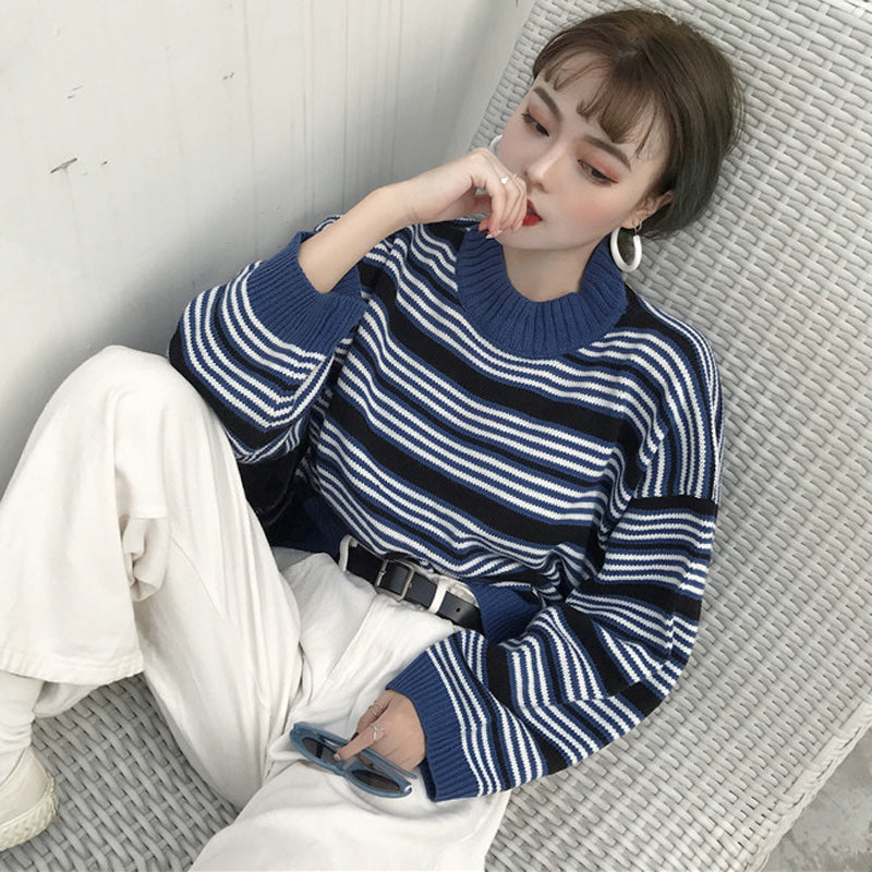 [Korean Style] Paulla Crew Neck Striped Knit