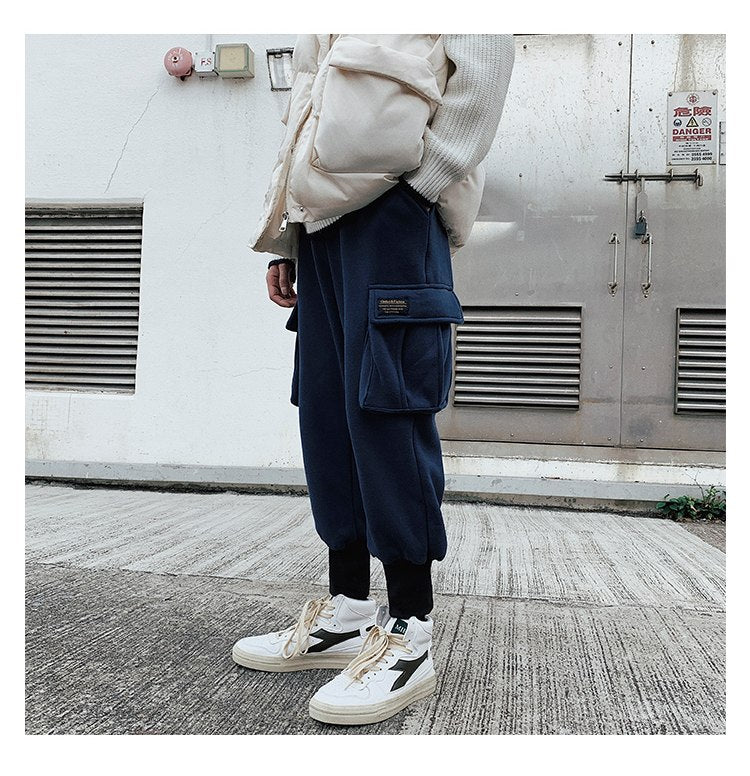 [Korean Style] Lym Cotton Harem Cargo Trousers with Pockets