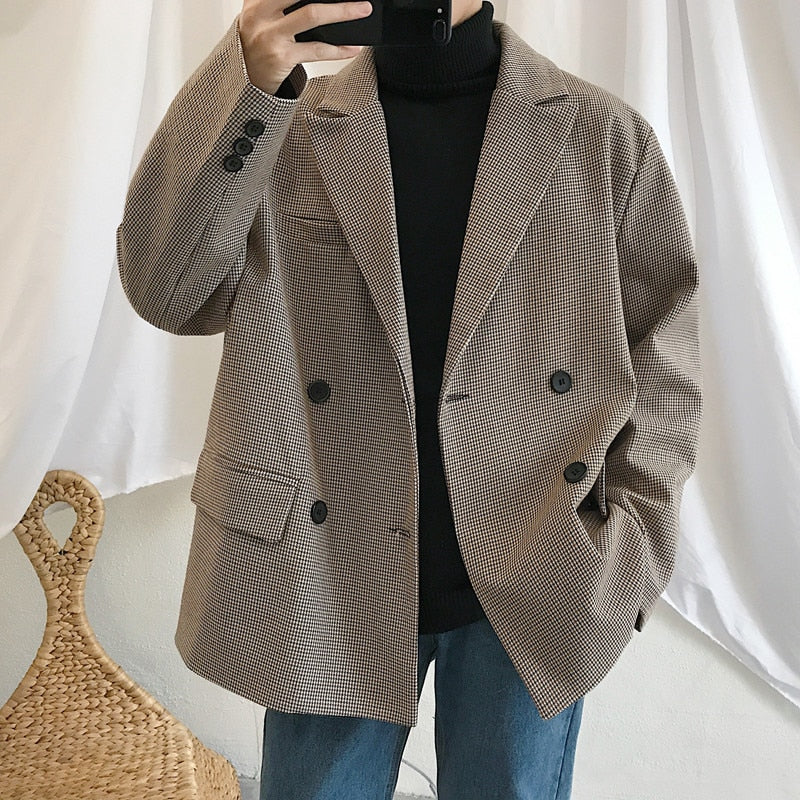 [Korean Style] James Oversized Double Breasted Plaid Blazer