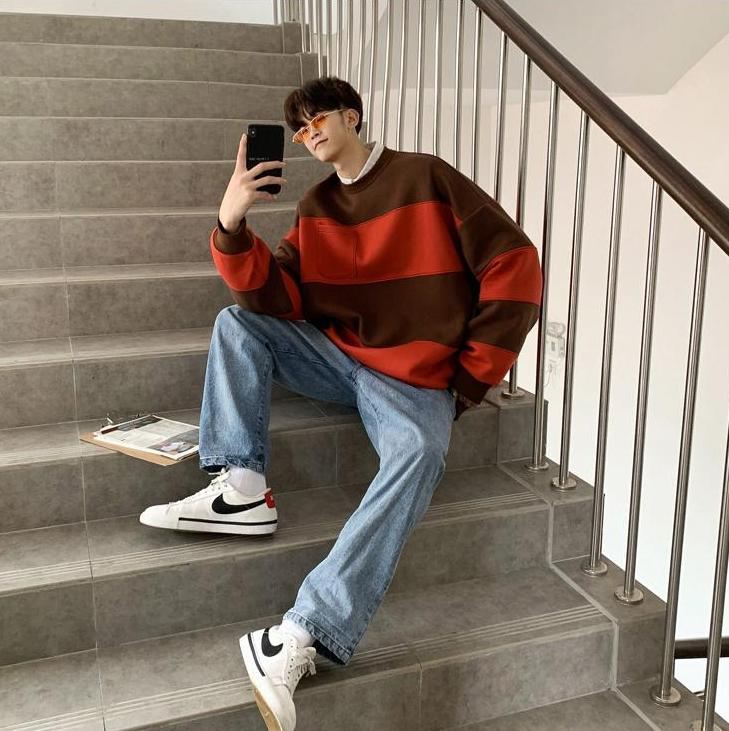 [Korean Style] Striped Pocket Sweatshirts