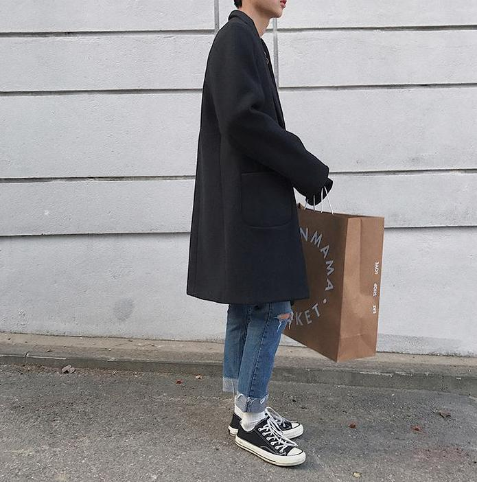 [Korean Style] Single Button Cashmere Coat