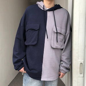[Korean Style] Two Face Patchwork Hoodie
